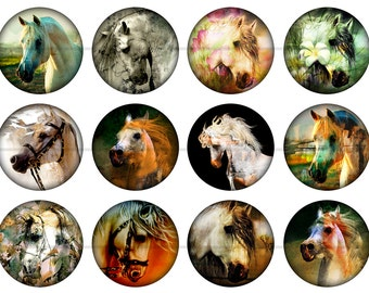 """Horse Magnets, Arabian Horse Magnets, Horse Pins, 1"""" Flat Back Buttons, Pins, or Magnets 12 ct."""