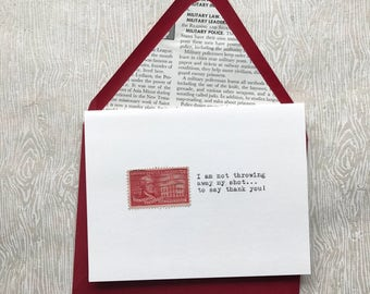 Vintage Postage Greeting Card, HAMILTON Thank You