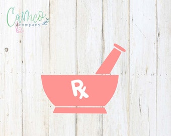 Mortar and Pestle Decal, Pharmacy Decal, Mortar and Pestle Sticker, Pharmacy Sticker, Pharmacy Monogram