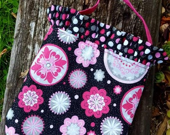 Pink & Black Toddler Purse, Little Girls Purse, Girl's Purse with Ruffle, Pink and Black Purse, Floral Toddler Purse