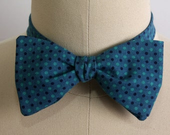 Free Style Bow Tie, Men's Accessories, Green & Blue, Dotted Self Tie Bow Tie, Men's Bow Tie, Formal,  Adjustable Bow Tie, Hipster, Trending