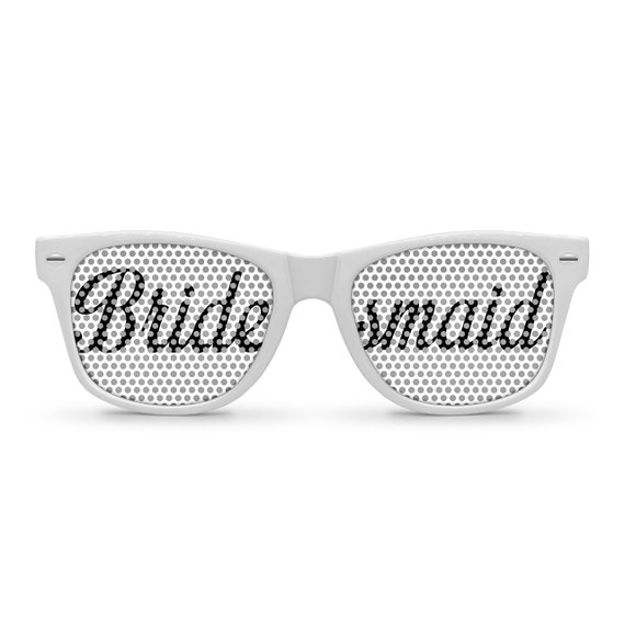BRIDESMAID White Retro Party Wedding Sunglasses