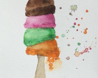 Original Watercolor Ice Cream