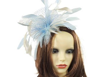 Cleo Baby Blue Cream Fascinator Hat for Weddings, Races, and Special Events With Headband(20 colours)