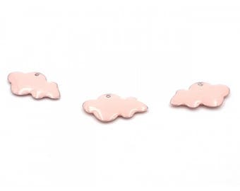 10 enameled charms 25mm pink clouds