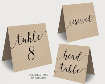 Wedding Table Numbers, Printable Tent Style Table Numbers, Kraft Printable Wedding Table Numbers, INSTANT DOWNLOAD, 5x5 Folded, VW10