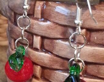 Glass lampwork apple dangle earrings