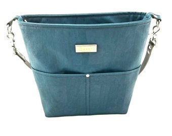 Teal Cork Shoulder Bag with Leather Strap - 8 pockets -Ready to Ship