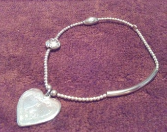 Sterling Silver Stretchy Heart Bracelet