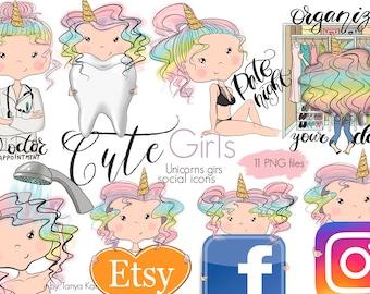 Medicine icons,Rainbow unicorn girls, Unicorns girls, Planner stickers, Planner Supplies, Planner clipart, Unicorn clipart, planner girls