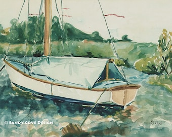 Sailboat at Eaton Dam, Print from Watercolor by E.S. Beal, New York, Fine Art, Wall Art