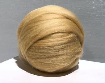 Camel Beige Merino Roving, Needle Felting Spinning Fiber, Sand, light brown, beige, tan, buff, taupe, neutral