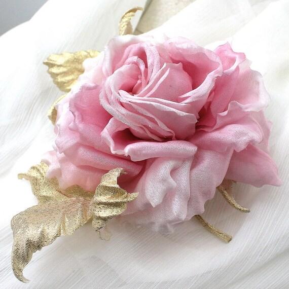 Silk flower brooch pink rose flower gold flower brooch silk mightylinksfo