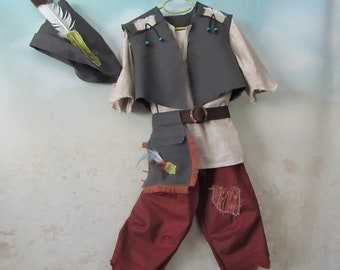 Lost Boy, Peter Pan, Neverland Costume: Tunic, Pants, Vest, Pouch/Belt, Hat - All Cotton Fabric - Size 5 to Size 8, Ready To Ship