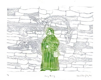 Mary Anning and Fossil Cliffs Linocut History of Paleontology, Women in STEM, Lino Block Print Scientist Portrait, Science, Dinosaur Fossils