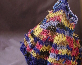 Hand-crocheted large market bag from recycled cotton yarns in blue, orange, yellow stripes
