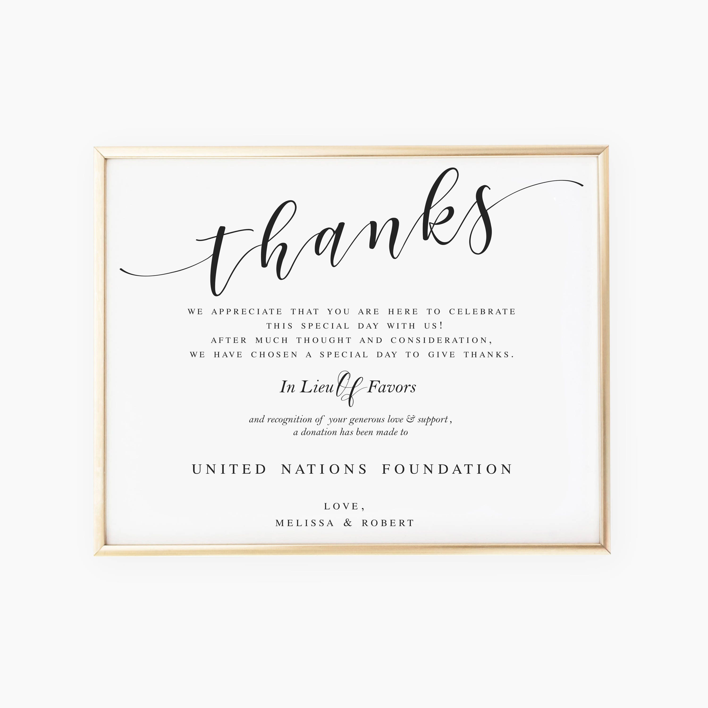 In Lieu of Favors Sign Donation Sign Favors Sign Wedding