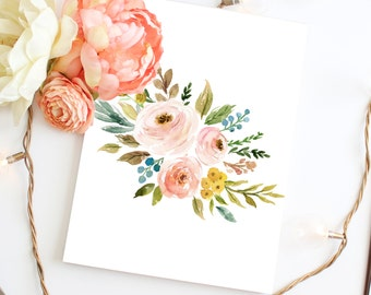 Flower Wall Art, Printable Art, Floral Print, Watercolor Flower Print Wall  Art,