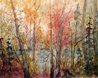 Watercolor Landscape Painting Print, watercolor print, watercolor art, landscape painting, fall landscape, scenic, autumn trees