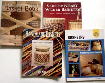 Set of 4 Basket Weaving Books, Used Soft Cover Craft Book Lot, Handmade Basket Making Techniques, Hand Made Container Project Patterns