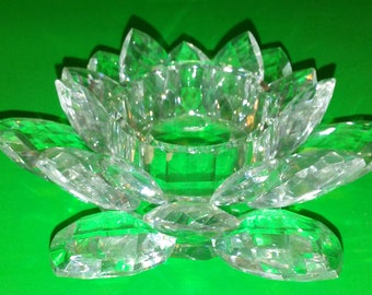 """Crystal Water Lily Lotus Candle Holder 4.5"""" diameter Tealight Votives"""