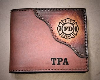 Fire fighter wallet,Fire Department Wallet, Dad gift, Handcrafted Classic Leather Bifold--Fire Fighter Gift--Initials Free!