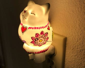 Porcelain hand painted Kitty night light
