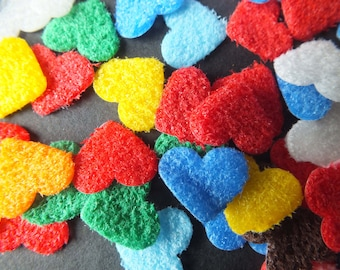120 tiny furry paper Hearts die cut shapes assorted colours Cards Scrapbooks