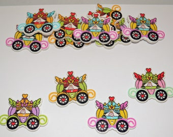 10 x Princess Carriage - Wooden Buttons - 2 hole - 30mm x 25mm