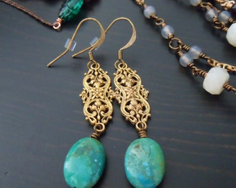 Earrings dangling Turquoise and prints brass (filigrees) - Bohemian chic - made in France
