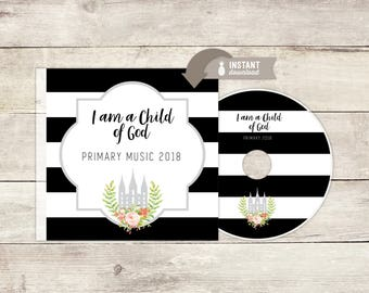 Instant-Download - 2018 LDS Primary Theme - Primary Music CD Cover and Label  - Modern Black & White Stripe Design