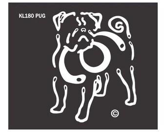 Pug K Lines Dog Car Window Decal Sticker