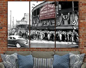 Chicago Cubs Wrigley Field 1945 World Series Digital Painting on Canvas, Wrigley Field Canvas, Chicago Cubs Art, Cubs World Series
