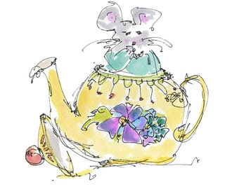 Alice In Wonderland DORMOUSE AND TEAPOT Original Handmade watercolor - Digital Printout for ClipArt