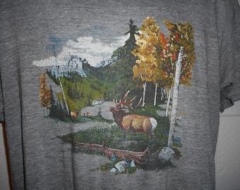 Vintage 80s Moose Wilderness Outdoors Tri Blend -Shirt XL Thin Soft