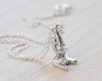 Tiny Silver Laboratory Microscope Necklace | Silver Microscope Charm Necklace | Science Student Pendant