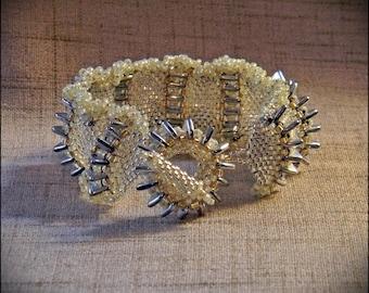 Spiky Sea Urchin Seed Beaded Peyote Stitch Bracelet - Hannah Rosner