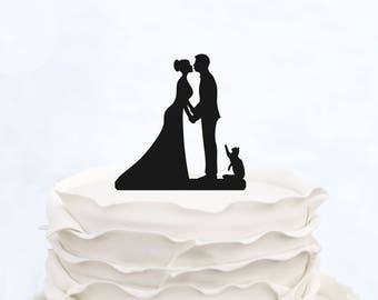 Wedding Cake Topper with cat_Couple Silhouette personalized_Bride And Groom Cake Topper_Custom Cake Topper with pet_Bridal Shower Topper