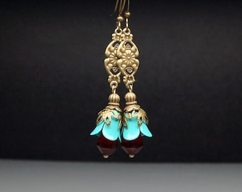 Bead Dangles Vintage Style Tuquoise and Red Enameled Flowers Pair