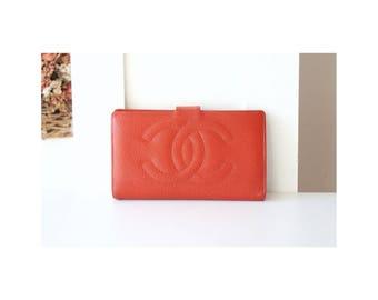 Chanel Wallet Big Logo Cavier Leather Orange Brick purse