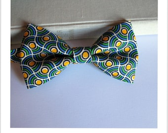 Bow tie blue green and yellow