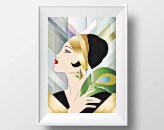 Fashion Art Print Vogue Style  - Poster Color Illustration Girl Années Folles Pop Art style Digital Fine Art Retro Decoration Wall Art