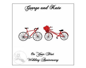 Handmade Personalised First Wedding Anniversary Card 1st Road Bikes Bicycle Hearts paper