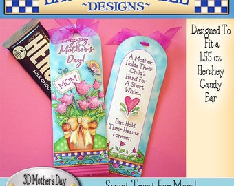 Mother's Day Candy Bar Wrapper, Laurie Furnell, Mother's Day Printable, Mother's Day Gift, DIY Candy Bar Wrapper, 3D Candy Bar Wrapper