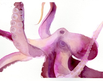 """Octopus Painting - Blushing Octopus - Fine Art Giclee Print 4/50 of 6""""x4"""" Purple and Pink Watercolor Painting"""