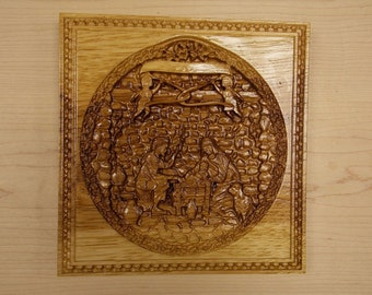 Wood Carved Nativity ~ Christmas Decorations ~ Wood Wall Art ~ With/Without Year ~ Christian Wall Art ~ Jesus in Manger ~ Wood Carving