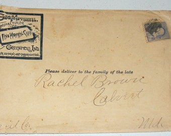 Antique Rare Remembrance Funeral Memorial Card Envelope Geo Mitchell Addressed Please Deliver to the Family of the Late Rachel Brown Calvert