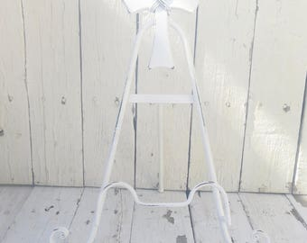 Cross Easel, White Metal Easel, Religious Decor, Art Prop, Shabby Cottage Chic, Home Decor, Book Easel, Cookbook Stand, Small Art Easel