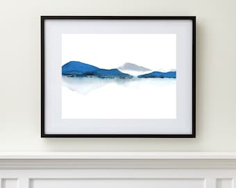 Extra Large Print Art,Large Wall Art Abstract Landscape Watercolor Painting, Modern Watercolor Print Art, Water Painting,Blue Gray White Art