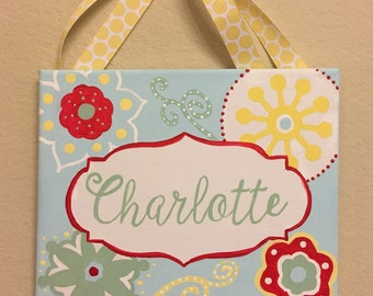 Hand-painted personalized canvas name wall/door art sign in Light Blue/Coral/Yellow